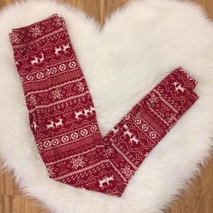 Maurice's Red & White Reindeer Leggings Size M